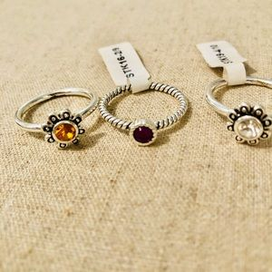 3 stackable sterling silver rings Sz 8,9,10 NWT